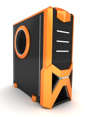 Orange-schwarzer Gaming PC